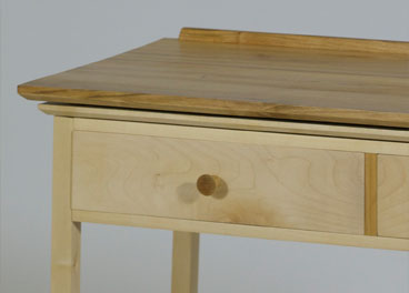 front of sycamore and cherry console table